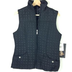 NWT Jane Ashley Quilted Outer Layer Black Vest S